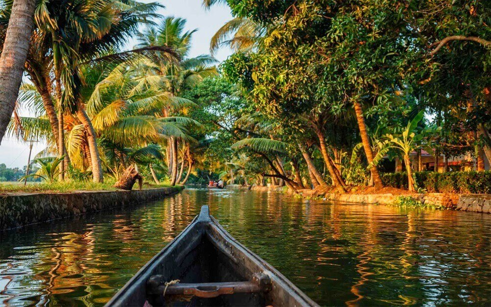 Kerala backwaters in a canoe in India