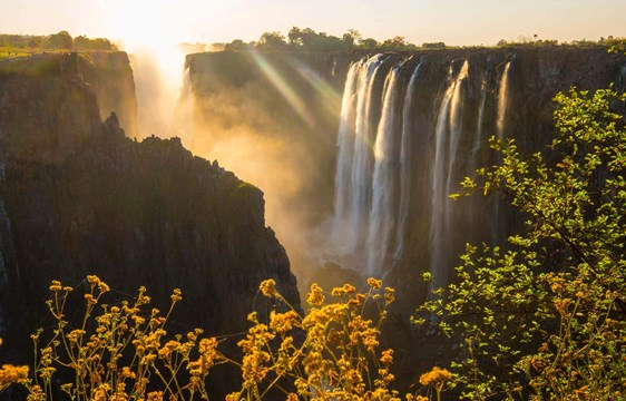 Victoria Falls view at sunrise Zambia