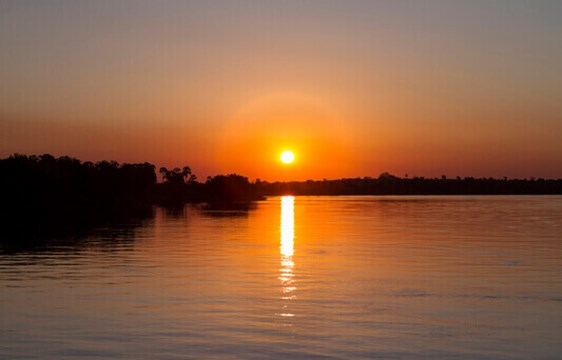 Sunset on the river in Zambia