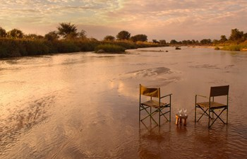 Mwaleshi Camp North Luangwa Zambia River Bed - Chairs and Drinks