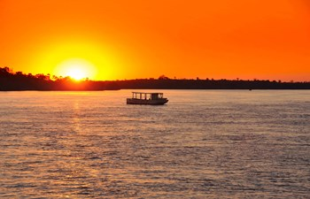 Sunset on the Zambezi River in Zambia