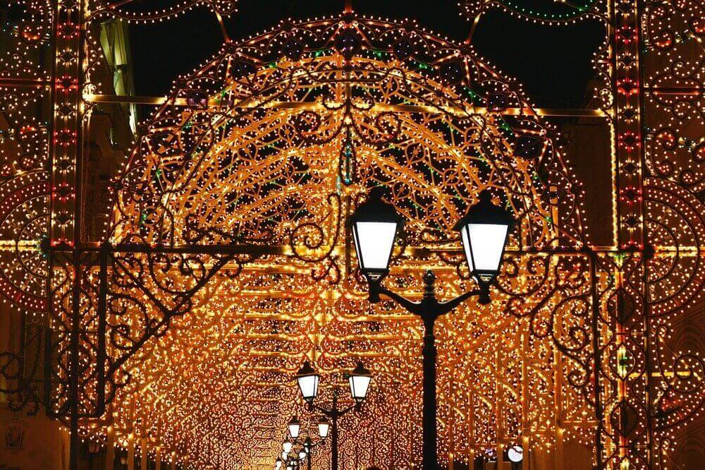 christmas lights and new year celebrations in russia