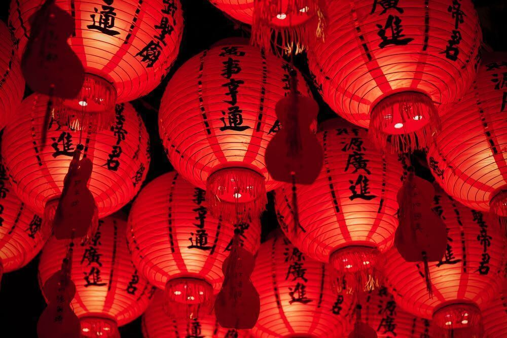 red chinese lanterns glowing for chinese lunar new year
