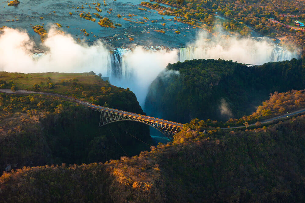 Aerial view of the thundering Victoria Falls