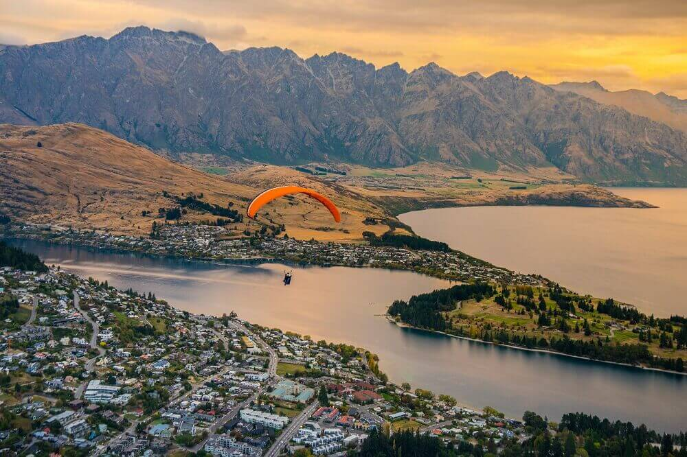 Paragliding over Queenstown in New Zealand