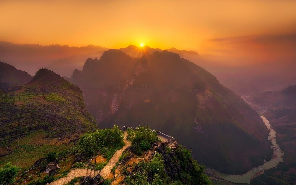 Sunrise over the Sapa mountains and hills in Northwestern Vietnam