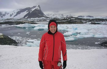 Kirsteen in Antarctica - expedition parka