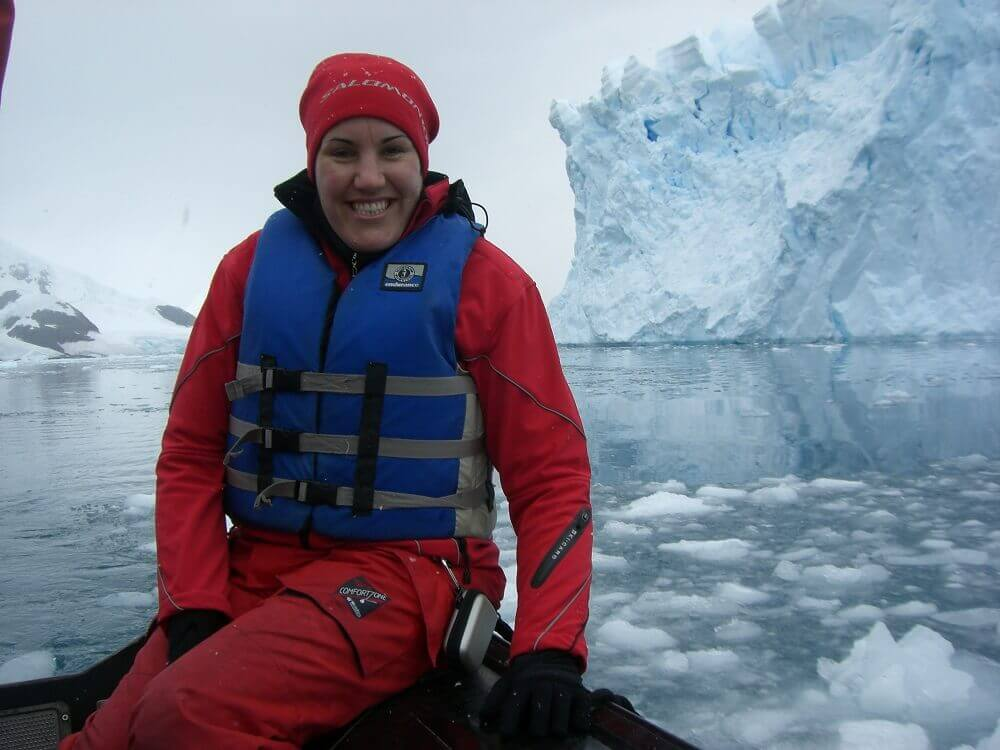 Kirsteen on zodiac trip in Antarctica