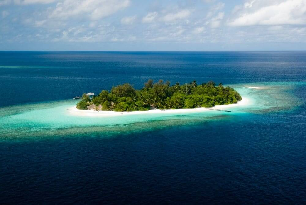 aerial view of an island in the maldives