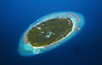 aerial view of Dusit Thani Maldives
