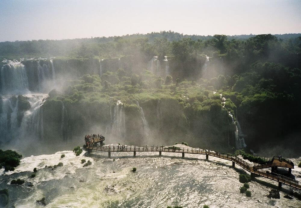 Walkway at Iguazu Falls in Brazil