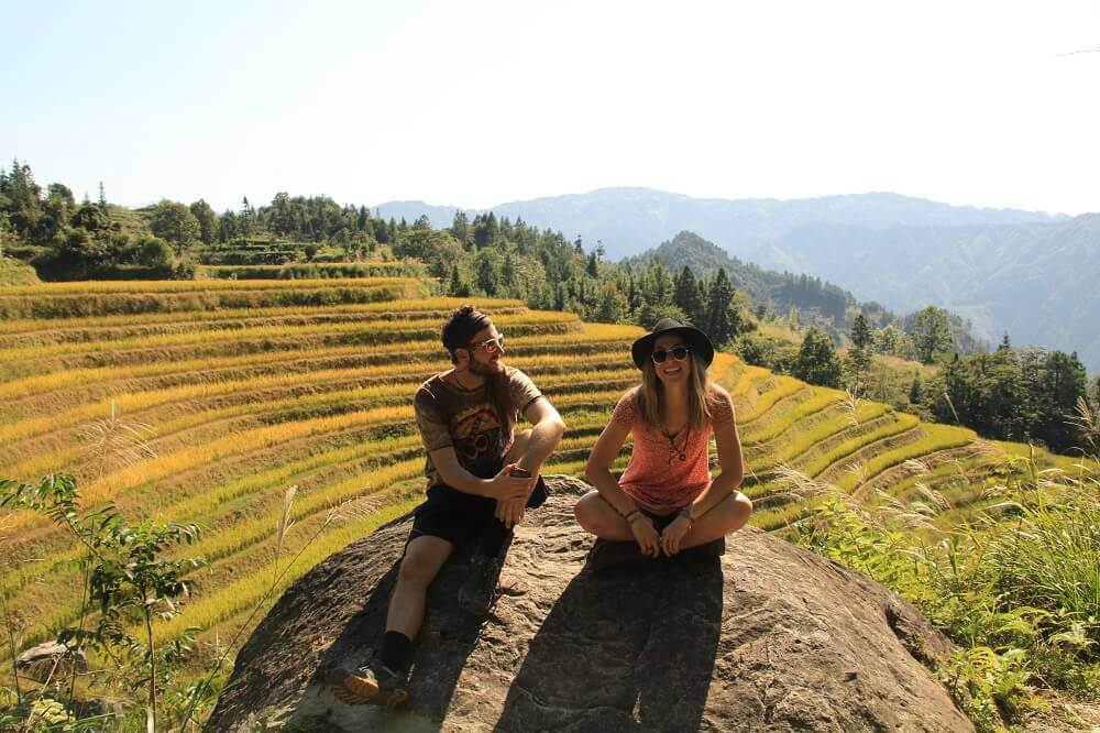 Sam and Ashley from Green Shoestring - Rice Terraces
