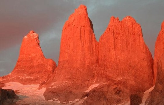 red granite peaks at sunset in torres del paine, chile