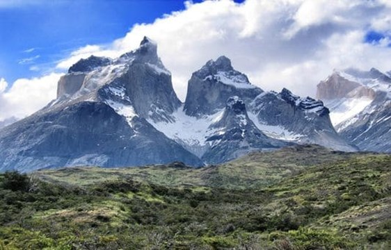 torres del paine on a cloudy day in southern Chile