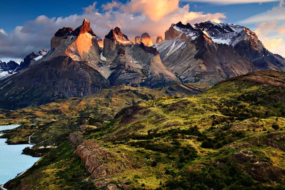 sunrise over the Andes mountains in Chilean Patagonia