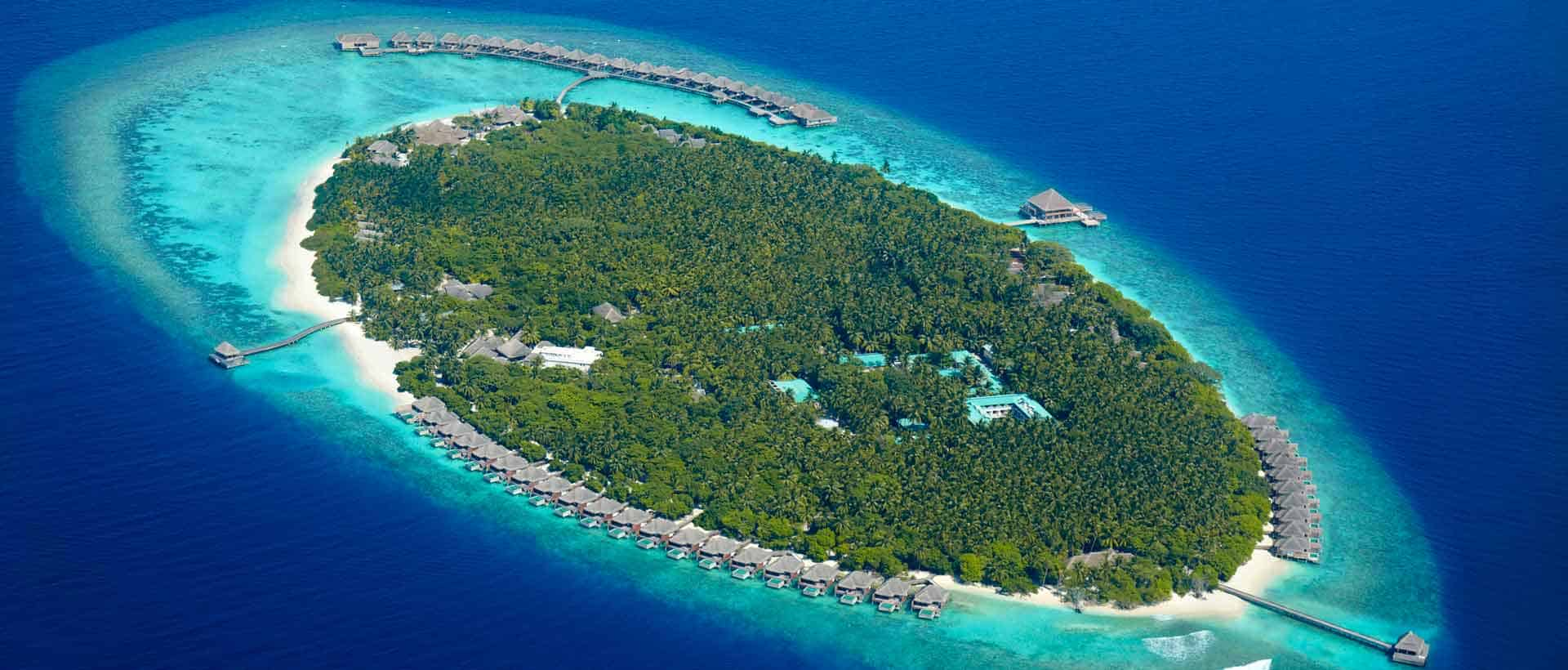 aerial view of private island of Dusit Thani Maldives