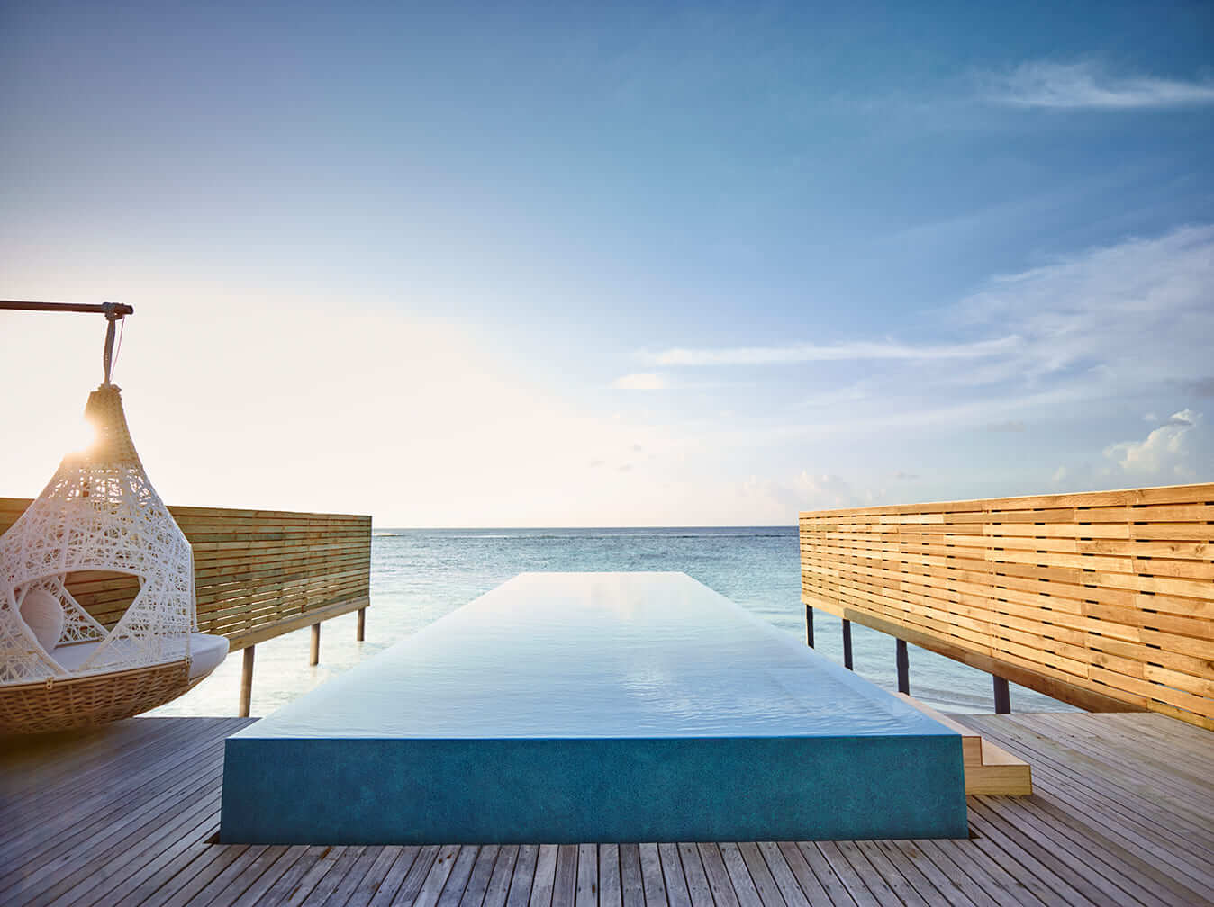 private infinity pool in overwater villa at LUX* South Ari Atoll, Maldives