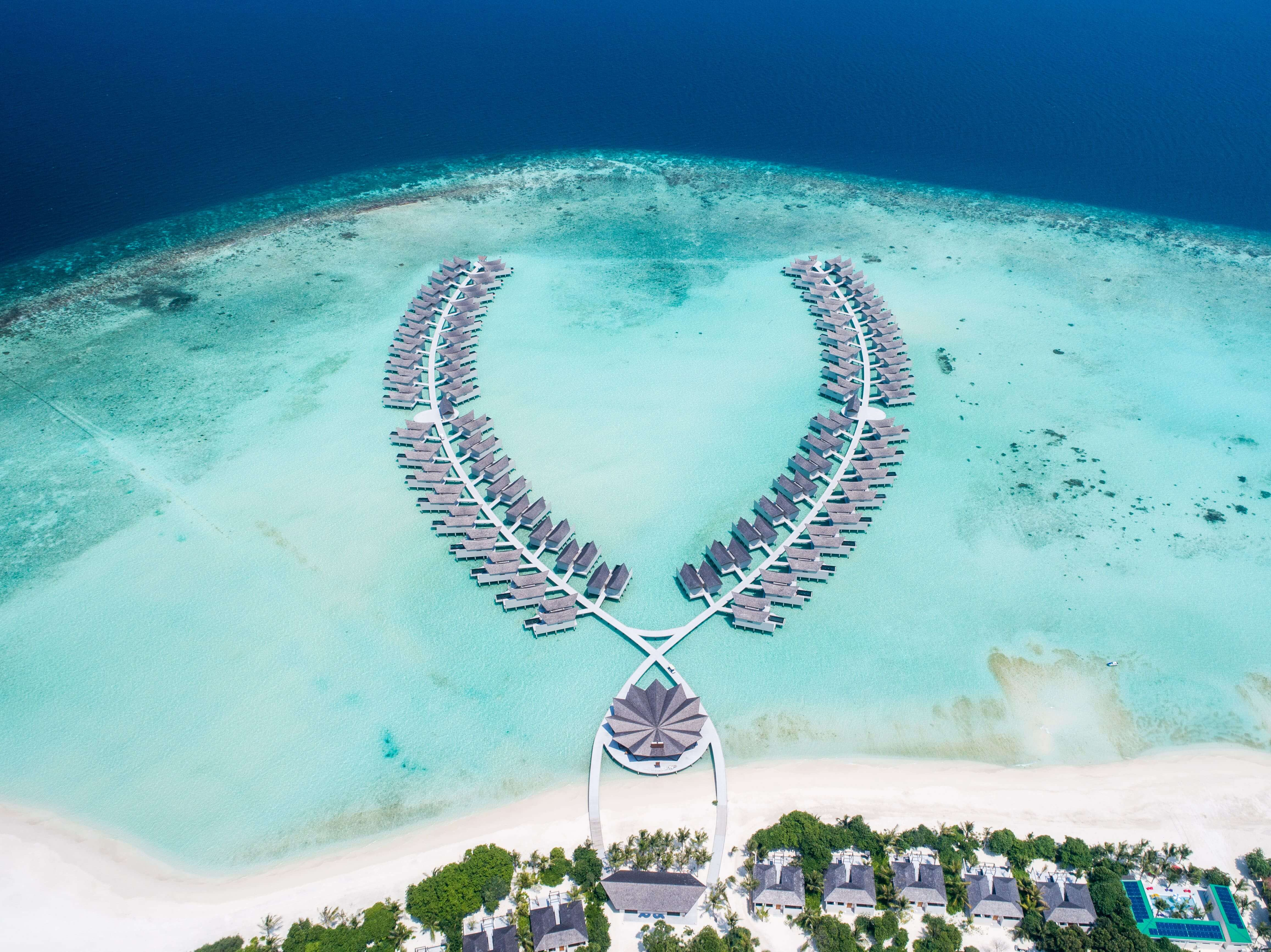 aerial view of movenpick resort maldives