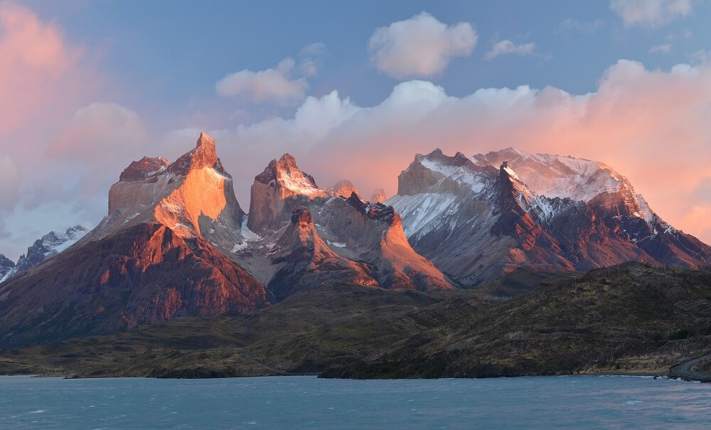 Sunset over Patagonian Andes in Chile