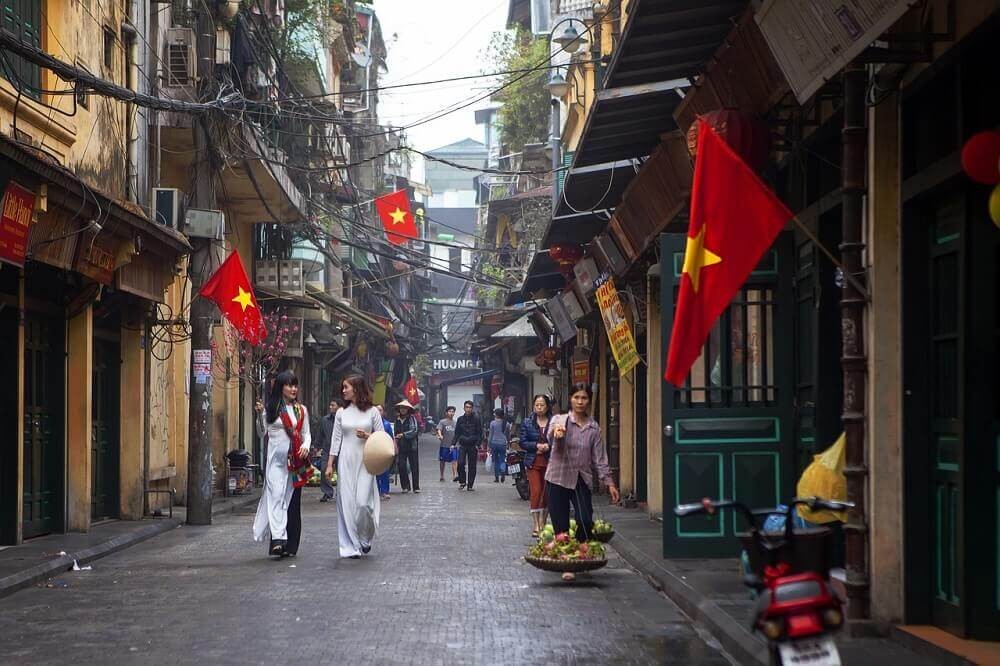 Ta Hien Street in the Old Quarter of Hanoi Vietnam