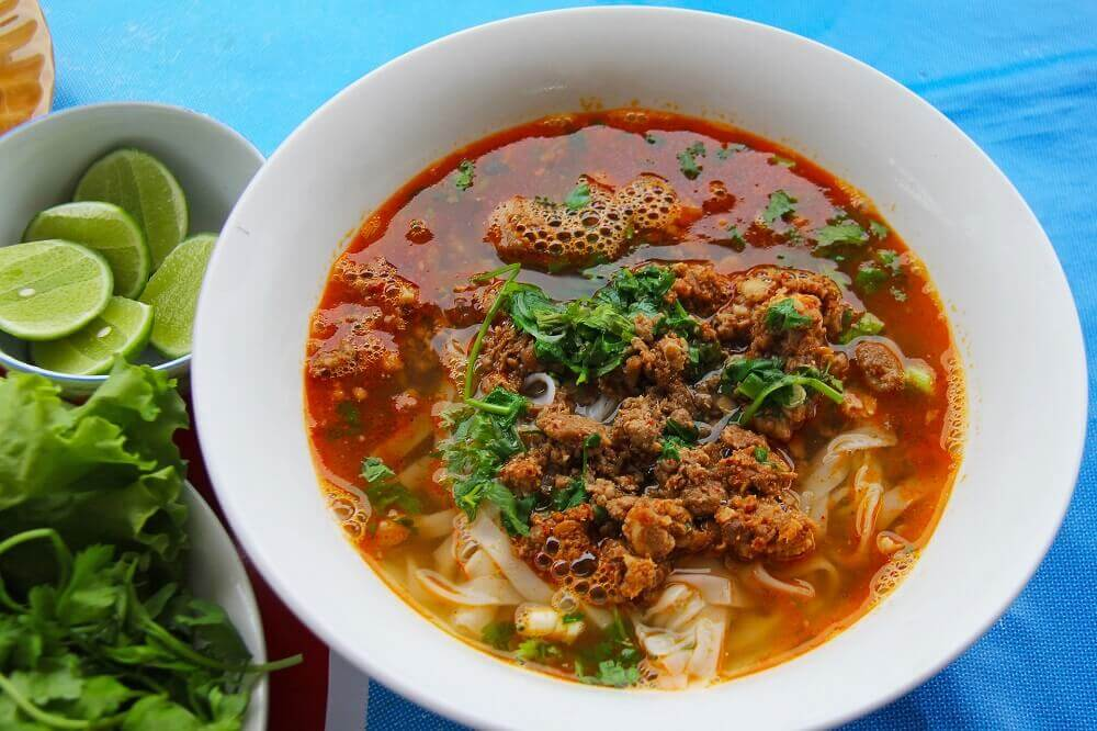 Laotian soup noodles with mincemeat in Luang Prabang Laos