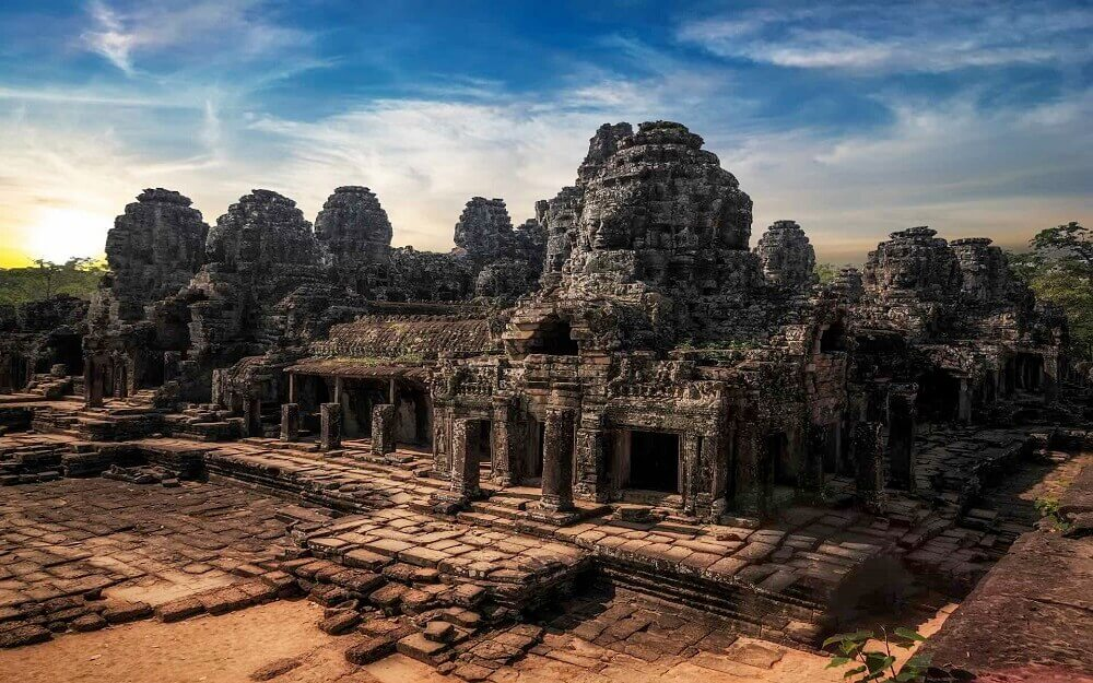 Ancient Khmer architecture at temple in Angkor Cambodia