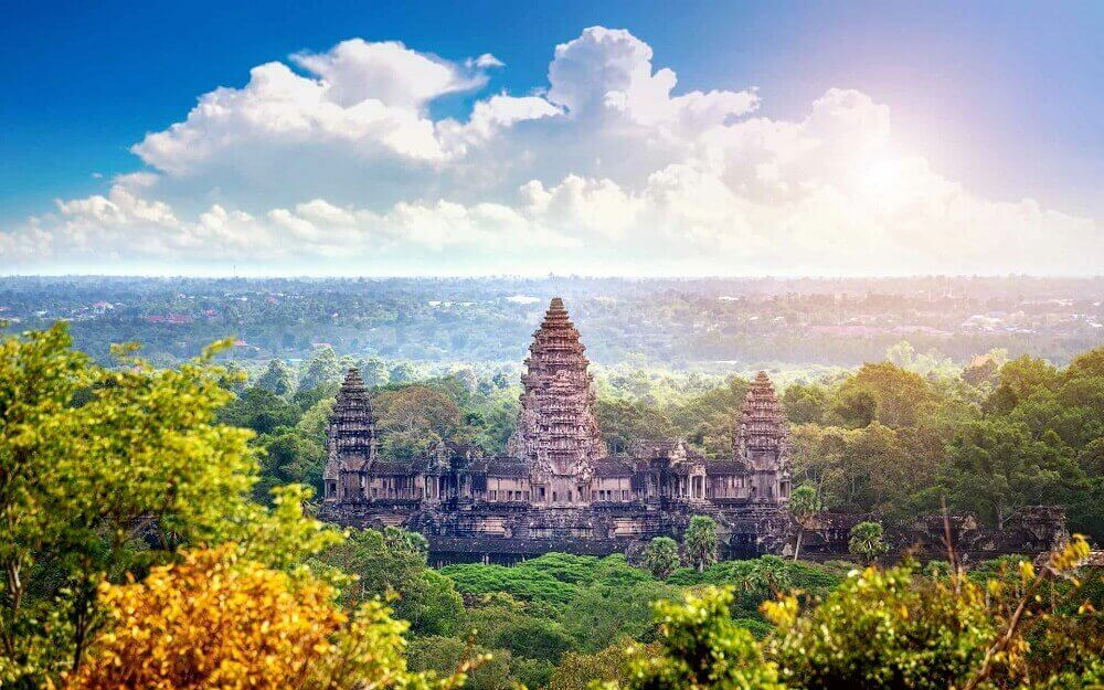 mekong and Temples Tour - Angkor Wat view from Siem Reap Cambodia