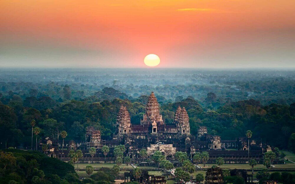 Beautiful aerial view of Angkor Wat sunrise ancient temple in Cambodia