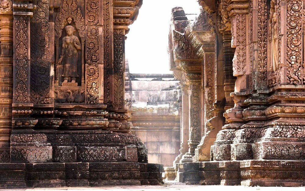 Cambodia Explorer Holiday - pillars and architecture at Banteay Srei Angkor