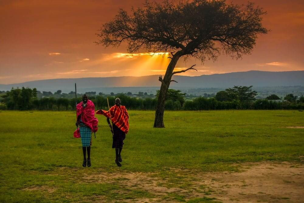 kenyan maasai warriors performing a traditional dance at sunset in the masai mara, kenya