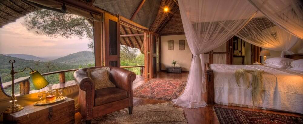 the literary room at Saruni Mara with panoramic views over the masai mara, kenya