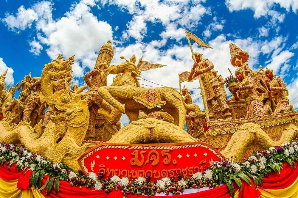 Carved candle float in Ubon Ratchathani - Thailand festivals