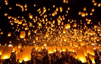 Floating lanterns in Chiang Mai Thailand festivals