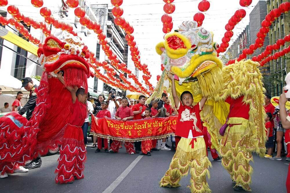 Lion dance for Chinese New Year in Chinatown Bangkok - Thailand festivals