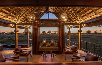 Chitabe Camp - lounge at sunset