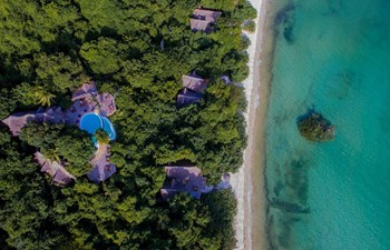 Fundo Lagoon resort drone shot