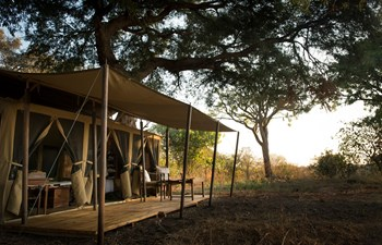 tent exterior with private verandah at Chada Katavi Camp, Katavi National Park, Tanzania